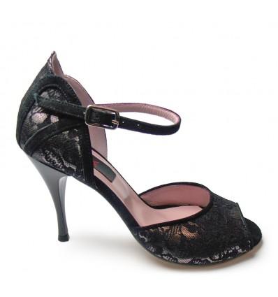Scarpa da tango 1444 pizzo peltro camoscio nero suola cuoio tacco 90
