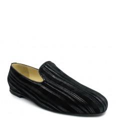 Scarpa senza lacci nabuk stampato nero suola gommina tacco 10