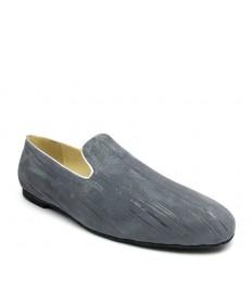 Scarpa senza lacci nabuk stampato grigio suola gommina tacco 10