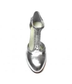 Punta chiusa pelle e glitter argento suola cuoio tacco 90.