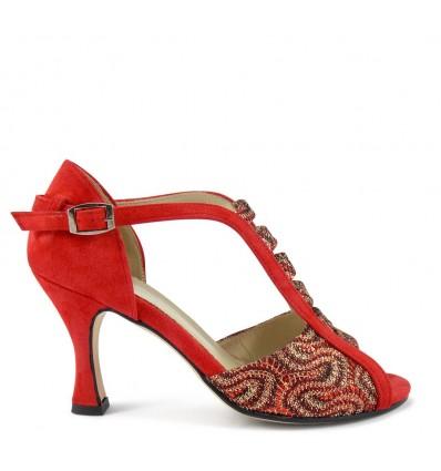 Spuntata camoscio rosso onda rosso suola cuoio tacco 80 a rocchetto