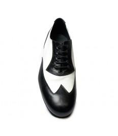 Scarpa da ballo pelle nero bianco suola cuoio tacco 25
