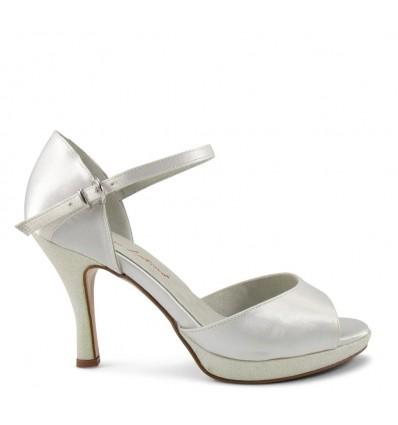 Sandalo raso e glitter bianco plateau di 1,5 cm suola cuoio tacco 90