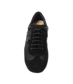 Sneakers camoscio tessuto e riporti vernice nera suola bufalo tacco 20