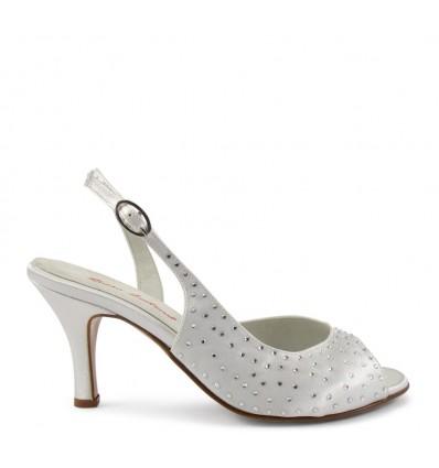 Sandalo in raso bianco con swarovski suola cuoio tacco 70
