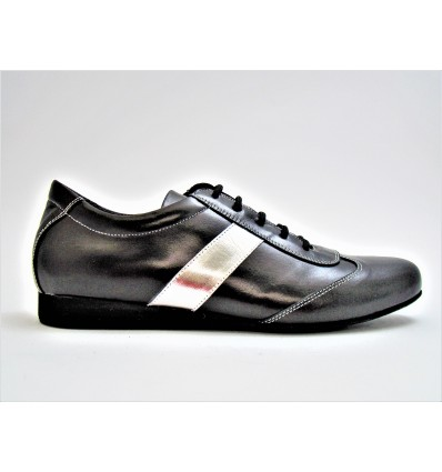 Sneakers pelle nera pelle argento suola bufalo tacco 20