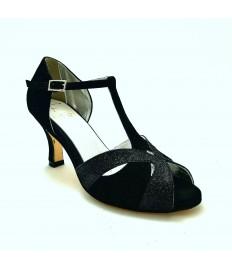 Spuntata camoscio nero glitter nero suola cuoio tacco 65 a stiletto