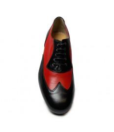 Scarpa da ballo pelle rossa e nera suola cuoio tacco 25