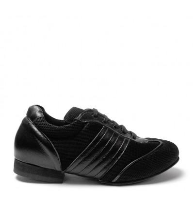 Sneakers tessuto e pelle nero suola gommina tacco 20