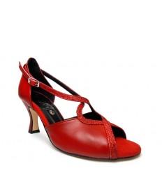 Spuntata tomaia in pelle rossa con riporti in glitter rosso suola cuoio tacco 70 a rocchetto